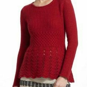 Anthro Guinevere Valentine Red Pointelle Sweater